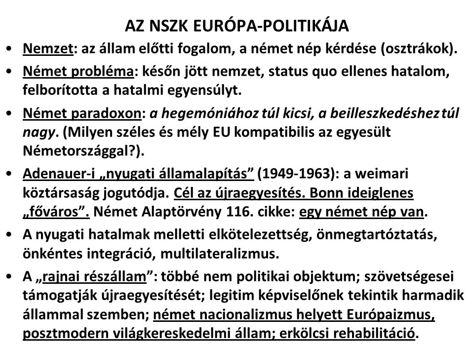 AZ NSZK EURÓPA-POLITIKÁJA