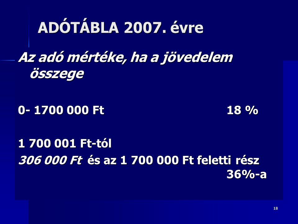 ADÓTÁBLA 2007. évre Az adó mértéke, ha a jövedelem összege