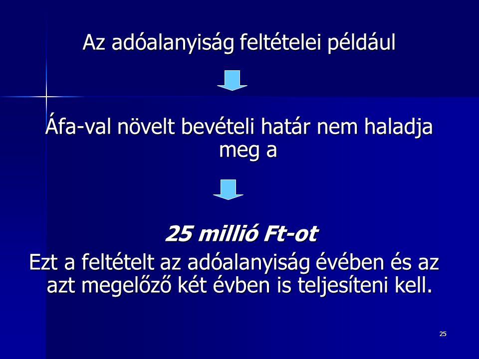Az adóalanyiság feltételei például