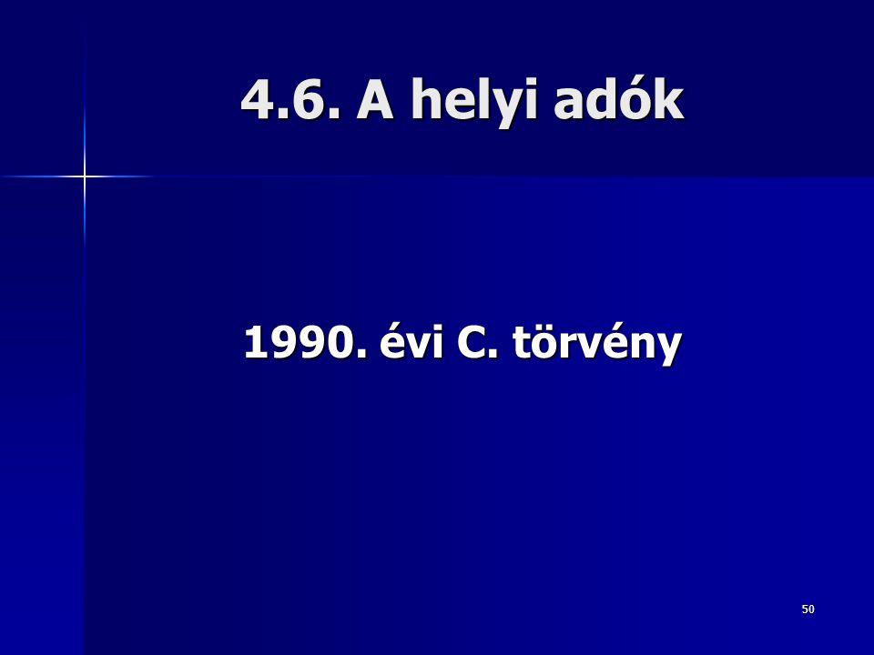 4.6. A helyi adók 1990. évi C. törvény