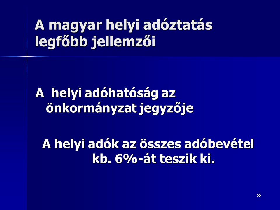 A magyar helyi adóztatás legfőbb jellemzői