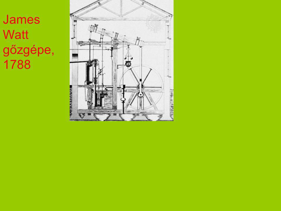 James Watt gőzgépe, 1788 A gőzgépek folyamatos változáson mennek keresztül 150 éven át