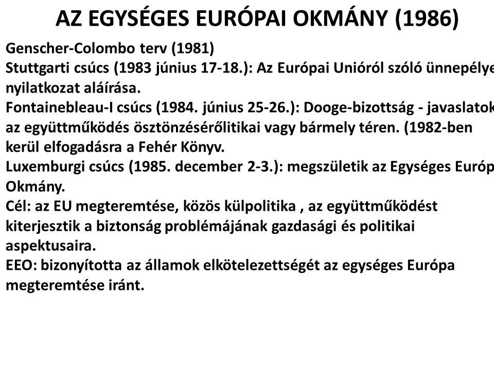AZ EGYSÉGES EURÓPAI OKMÁNY (1986)