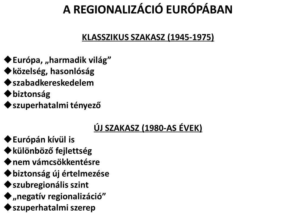 A REGIONALIZÁCIÓ EURÓPÁBAN KLASSZIKUS SZAKASZ (1945-1975)