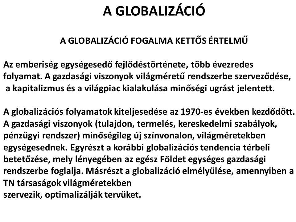 A GLOBALIZÁCIÓ FOGALMA KETTŐS ÉRTELMŰ