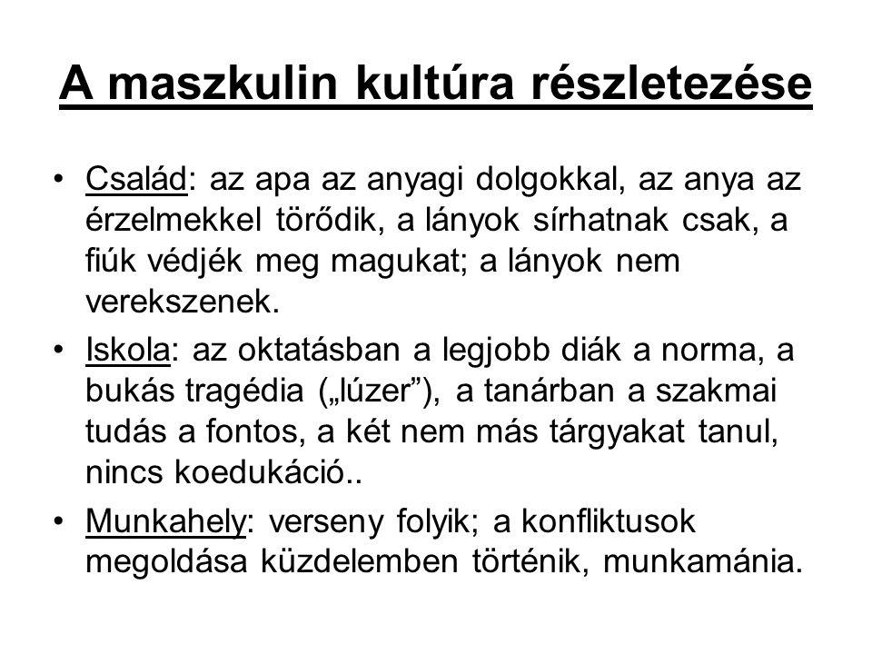 A maszkulin kultúra részletezése