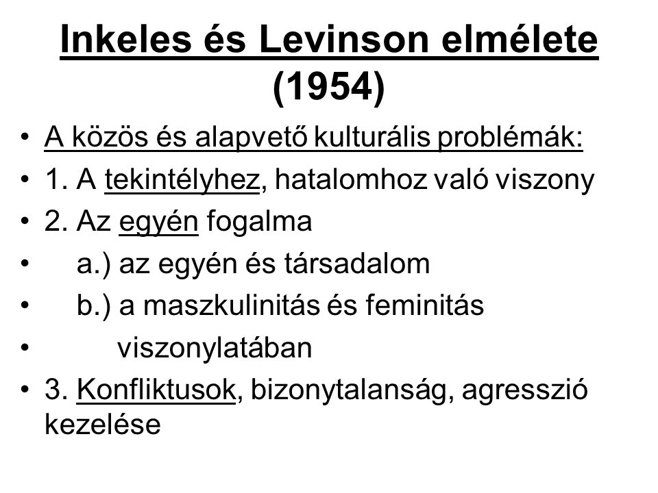 Inkeles és Levinson elmélete (1954)