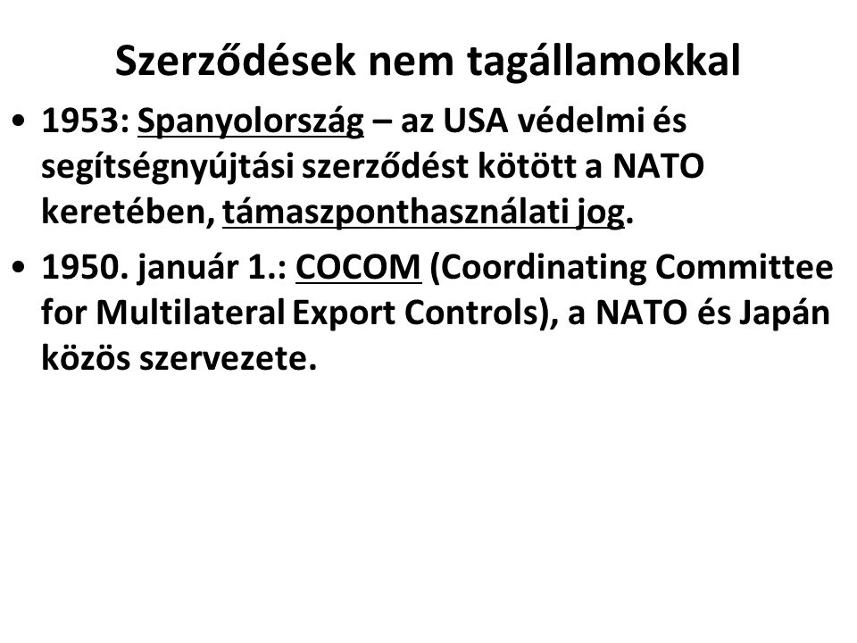 Szerződések nem tagállamokkal