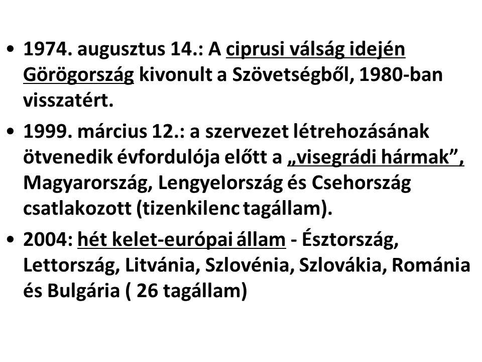1974. augusztus 14.: A ciprusi válság idején Görögország kivonult a Szövetségből, 1980-ban visszatért.