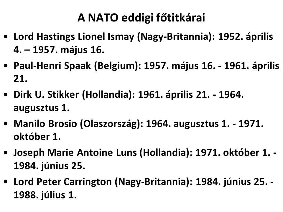 A NATO eddigi főtitkárai