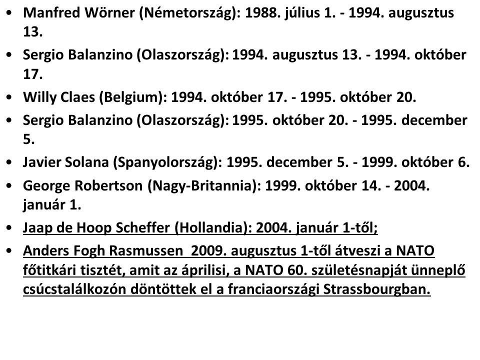 Manfred Wörner (Németország): 1988. július 1. - 1994. augusztus 13.