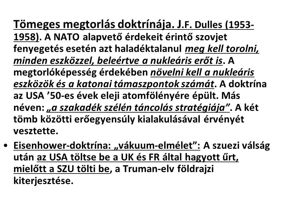 Tömeges megtorlás doktrínája. J. F. Dulles (1953-1958)