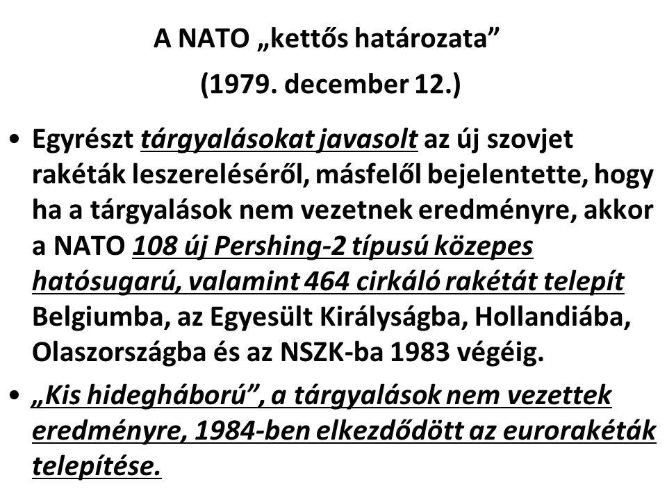 """A NATO """"kettős határozata (1979. december 12.)"""