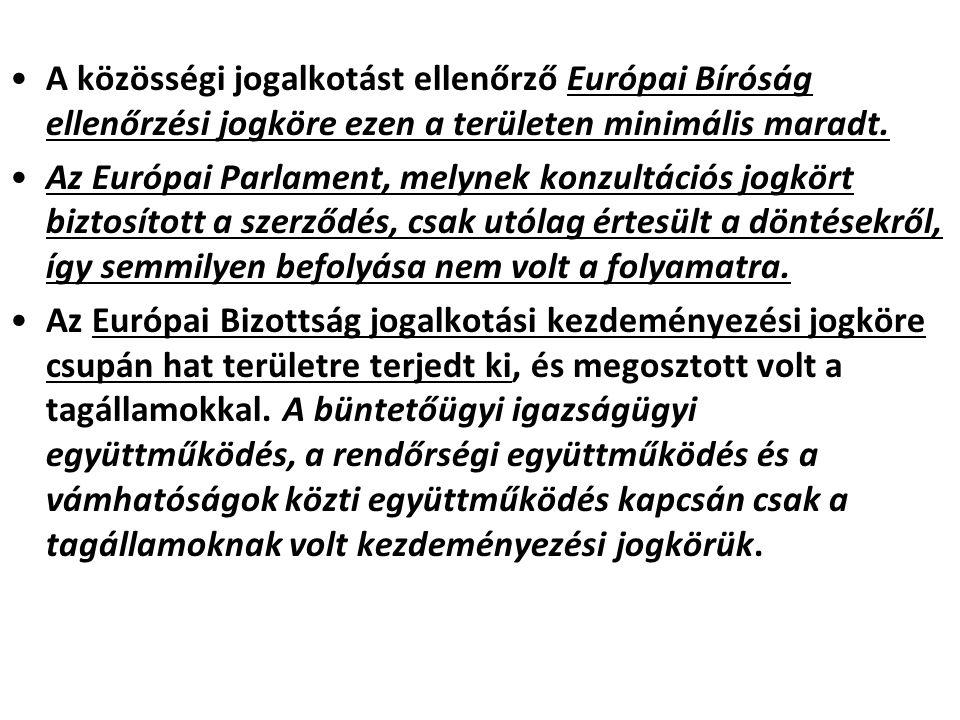 A közösségi jogalkotást ellenőrző Európai Bíróság ellenőrzési jogköre ezen a területen minimális maradt.