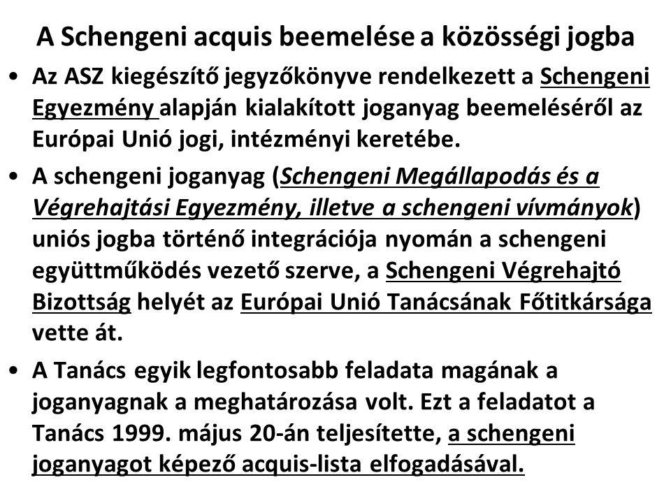 A Schengeni acquis beemelése a közösségi jogba