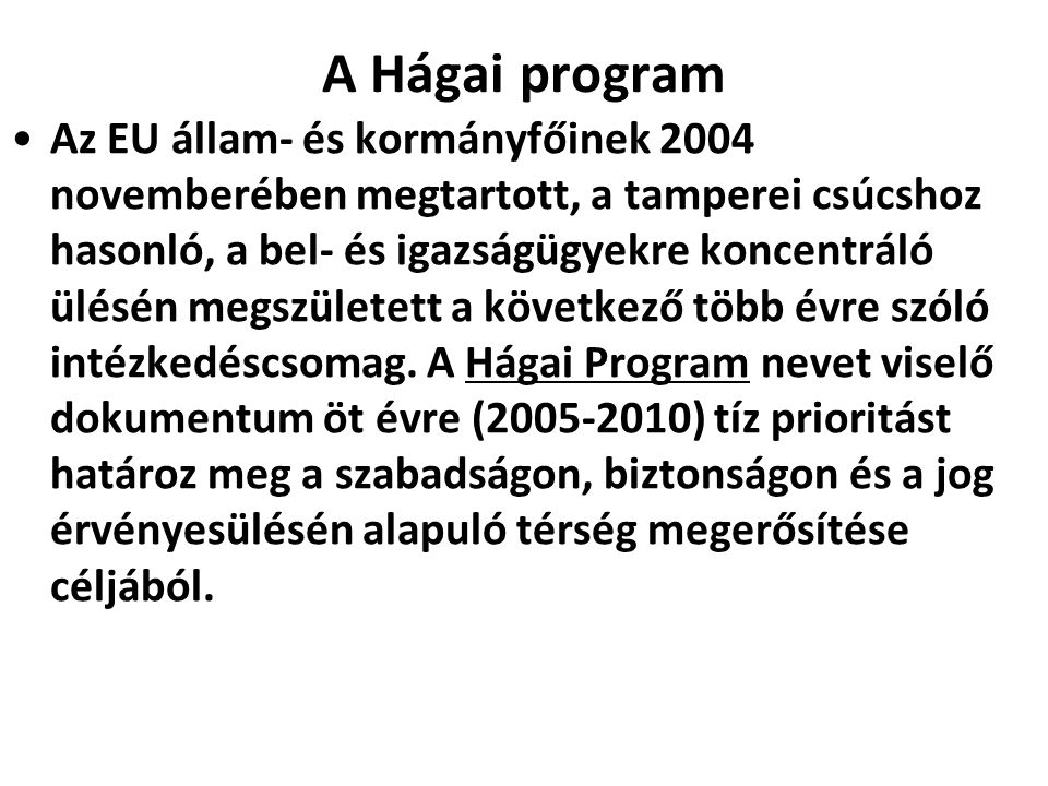 A Hágai program
