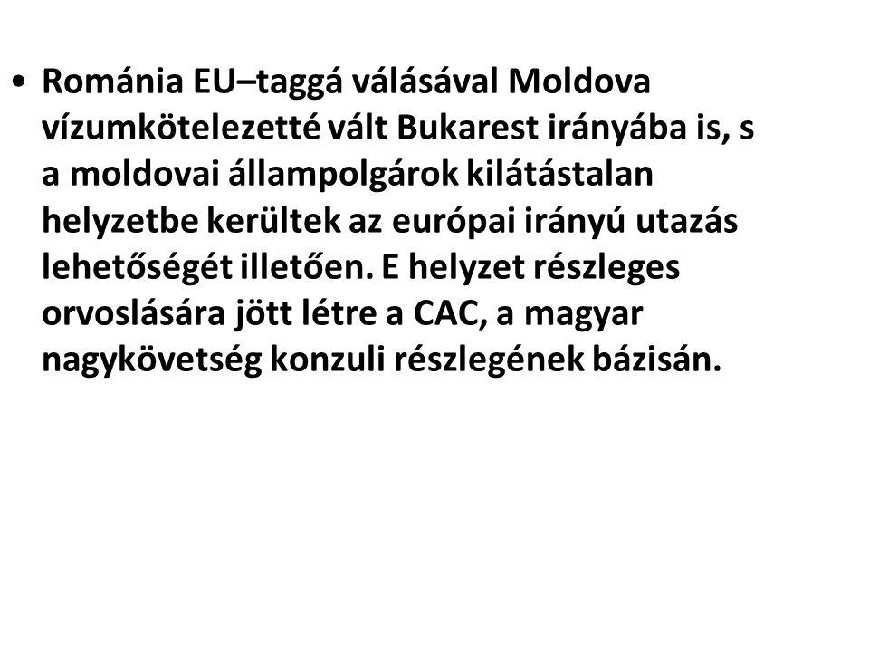 Románia EU–taggá válásával Moldova vízumkötelezetté vált Bukarest irányába is, s a moldovai állampolgárok kilátástalan helyzetbe kerültek az európai irányú utazás lehetőségét illetően.