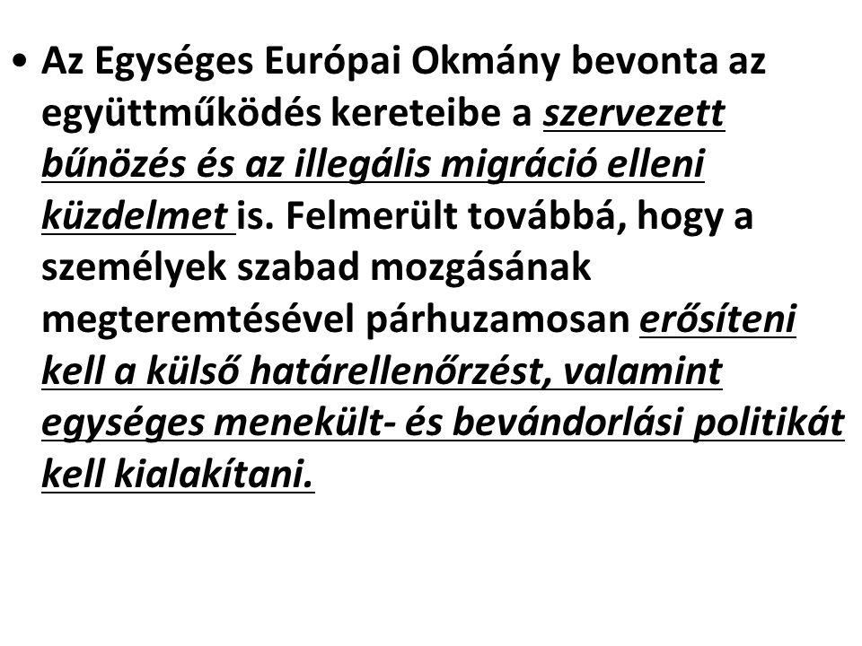 Az Egységes Európai Okmány bevonta az együttműködés kereteibe a szervezett bűnözés és az illegális migráció elleni küzdelmet is.