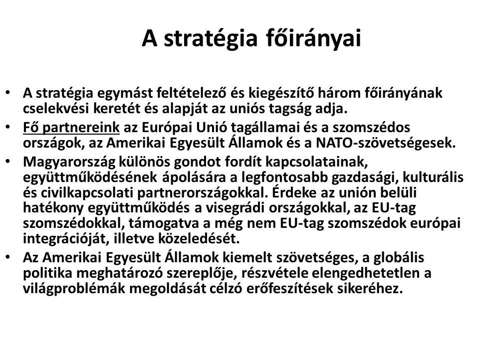 A stratégia főirányai A stratégia egymást feltételező és kiegészítő három főirányának cselekvési keretét és alapját az uniós tagság adja.