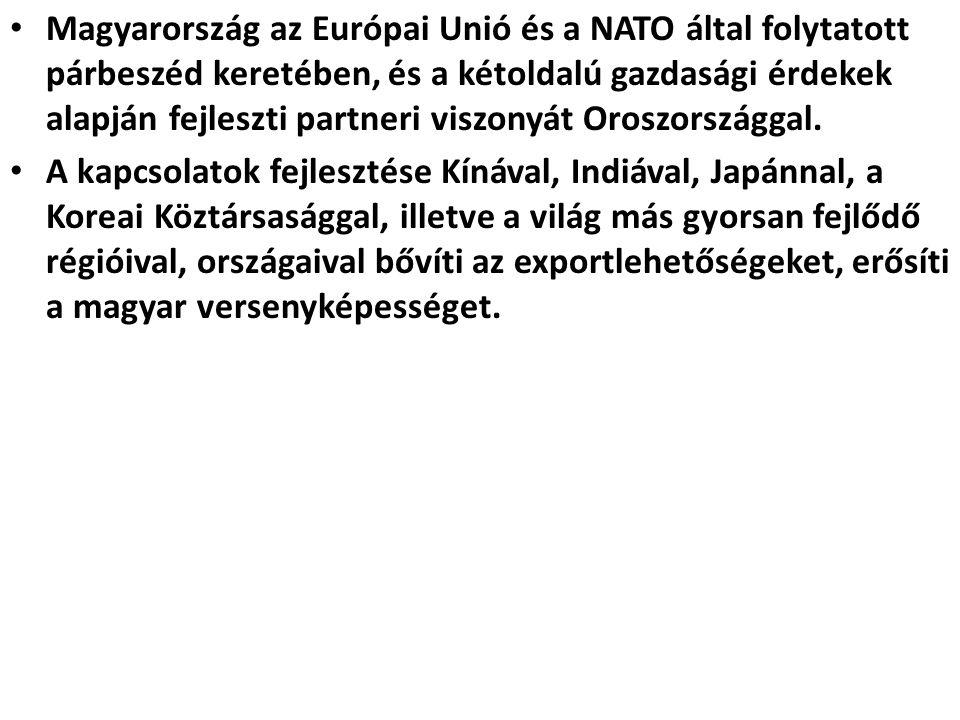 Magyarország az Európai Unió és a NATO által folytatott párbeszéd keretében, és a kétoldalú gazdasági érdekek alapján fejleszti partneri viszonyát Oroszországgal.