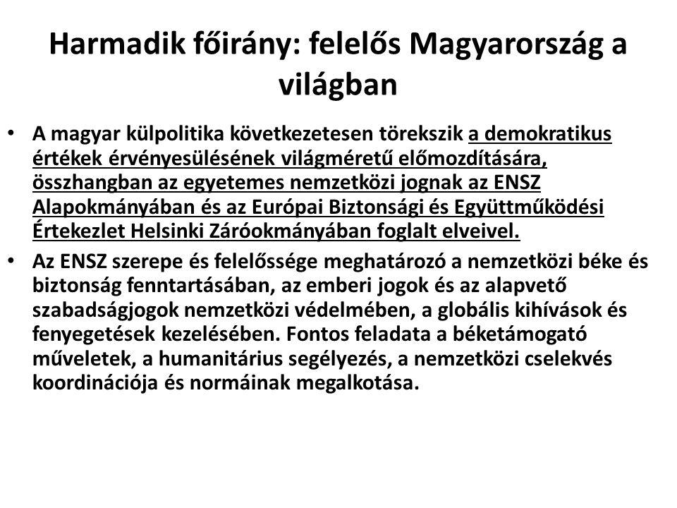 Harmadik főirány: felelős Magyarország a világban