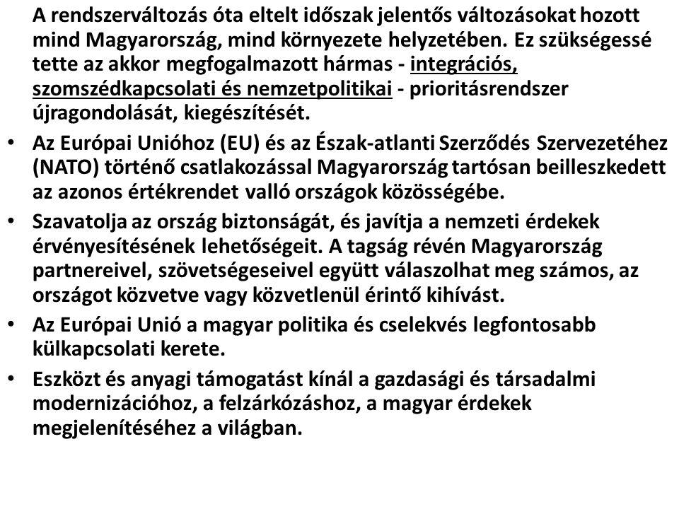 A rendszerváltozás óta eltelt időszak jelentős változásokat hozott mind Magyarország, mind környezete helyzetében. Ez szükségessé tette az akkor megfogalmazott hármas - integrációs, szomszédkapcsolati és nemzetpolitikai - prioritásrendszer újragondolását, kiegészítését.