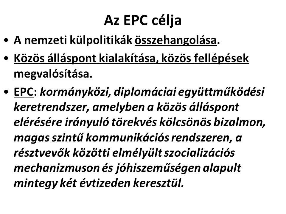 Az EPC célja A nemzeti külpolitikák összehangolása.