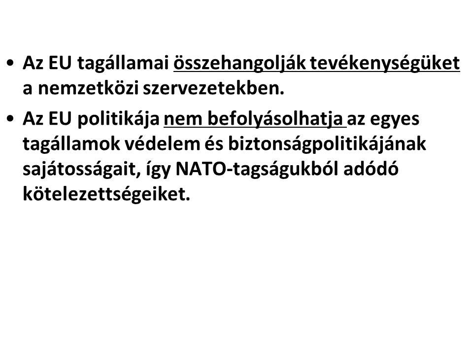 Az EU tagállamai összehangolják tevékenységüket a nemzetközi szervezetekben.