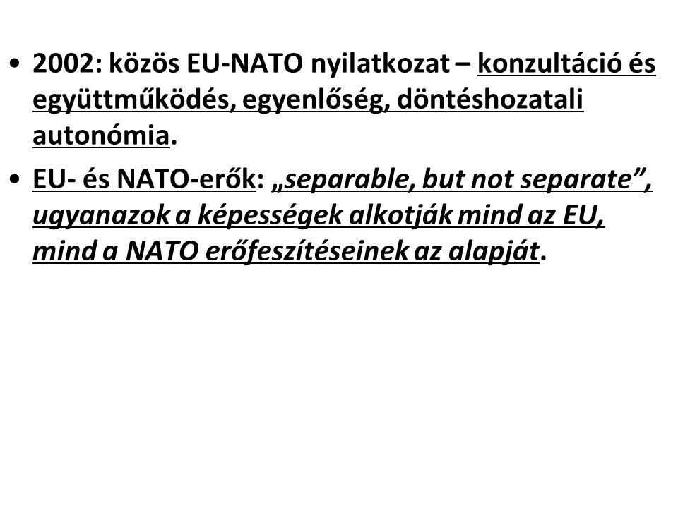 2002: közös EU-NATO nyilatkozat – konzultáció és együttműködés, egyenlőség, döntéshozatali autonómia.