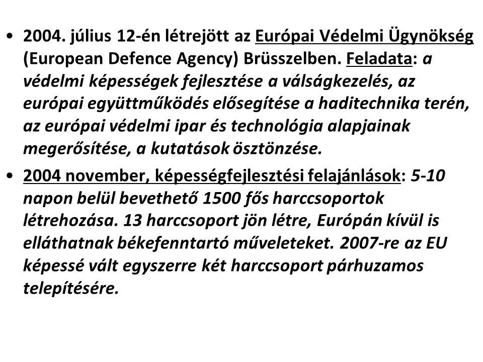 2004. július 12-én létrejött az Európai Védelmi Ügynökség (European Defence Agency) Brüsszelben. Feladata: a védelmi képességek fejlesztése a válságkezelés, az európai együttműködés elősegítése a haditechnika terén, az európai védelmi ipar és technológia alapjainak megerősítése, a kutatások ösztönzése.