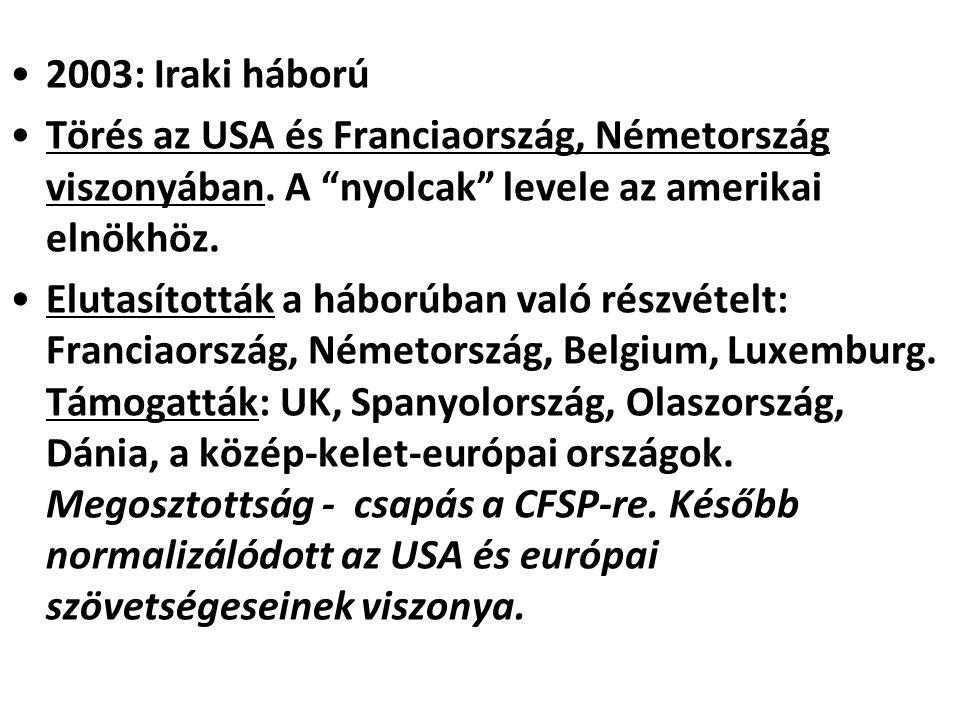 2003: Iraki háború Törés az USA és Franciaország, Németország viszonyában. A nyolcak levele az amerikai elnökhöz.