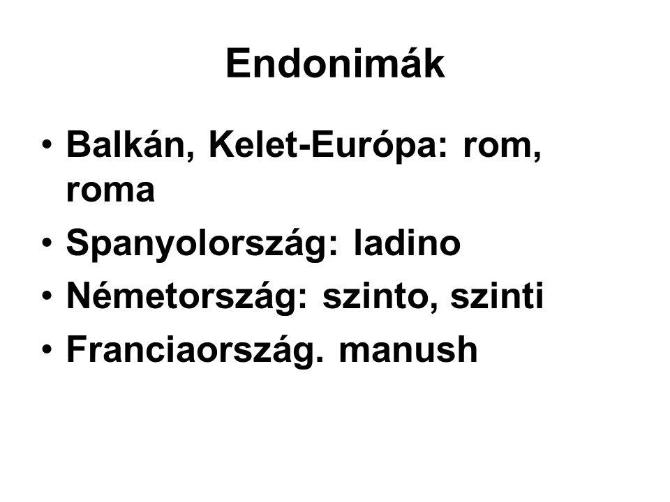 Endonimák Balkán, Kelet-Európa: rom, roma Spanyolország: ladino