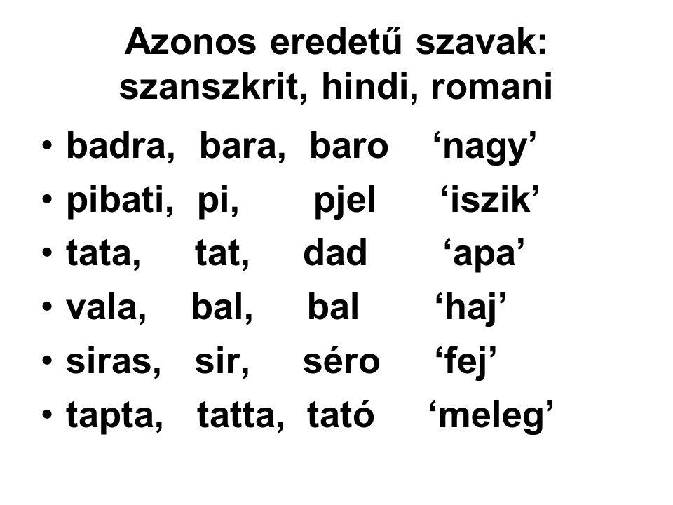 Azonos eredetű szavak: szanszkrit, hindi, romani