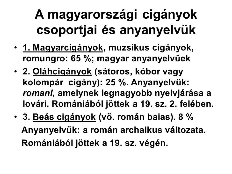 A magyarországi cigányok csoportjai és anyanyelvük