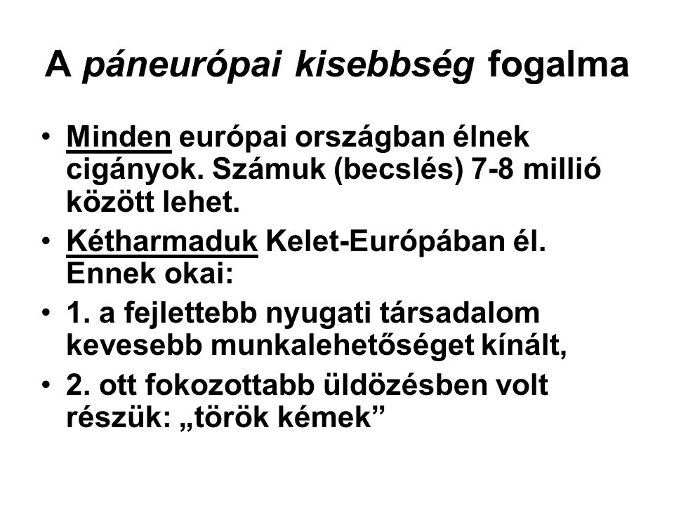 A páneurópai kisebbség fogalma