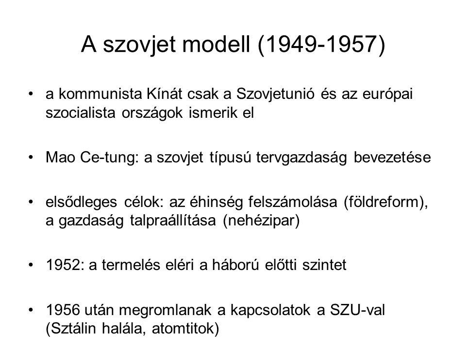 A szovjet modell (1949-1957) a kommunista Kínát csak a Szovjetunió és az európai szocialista országok ismerik el.