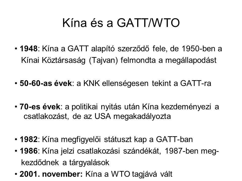 Kína és a GATT/WTO • 1948: Kína a GATT alapító szerződő fele, de 1950-ben a. Kínai Köztársaság (Tajvan) felmondta a megállapodást.