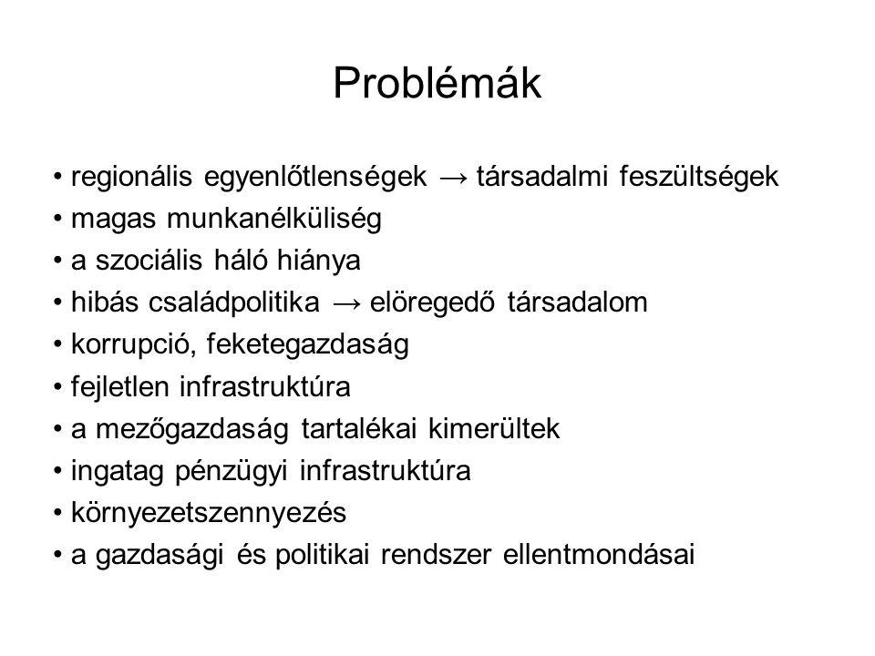 Problémák • regionális egyenlőtlenségek → társadalmi feszültségek