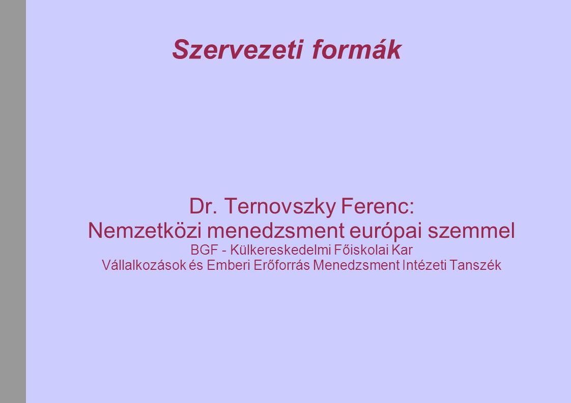 Szervezeti formák Dr. Ternovszky Ferenc: Nemzetközi menedzsment európai szemmel. BGF - Külkereskedelmi Főiskolai Kar.