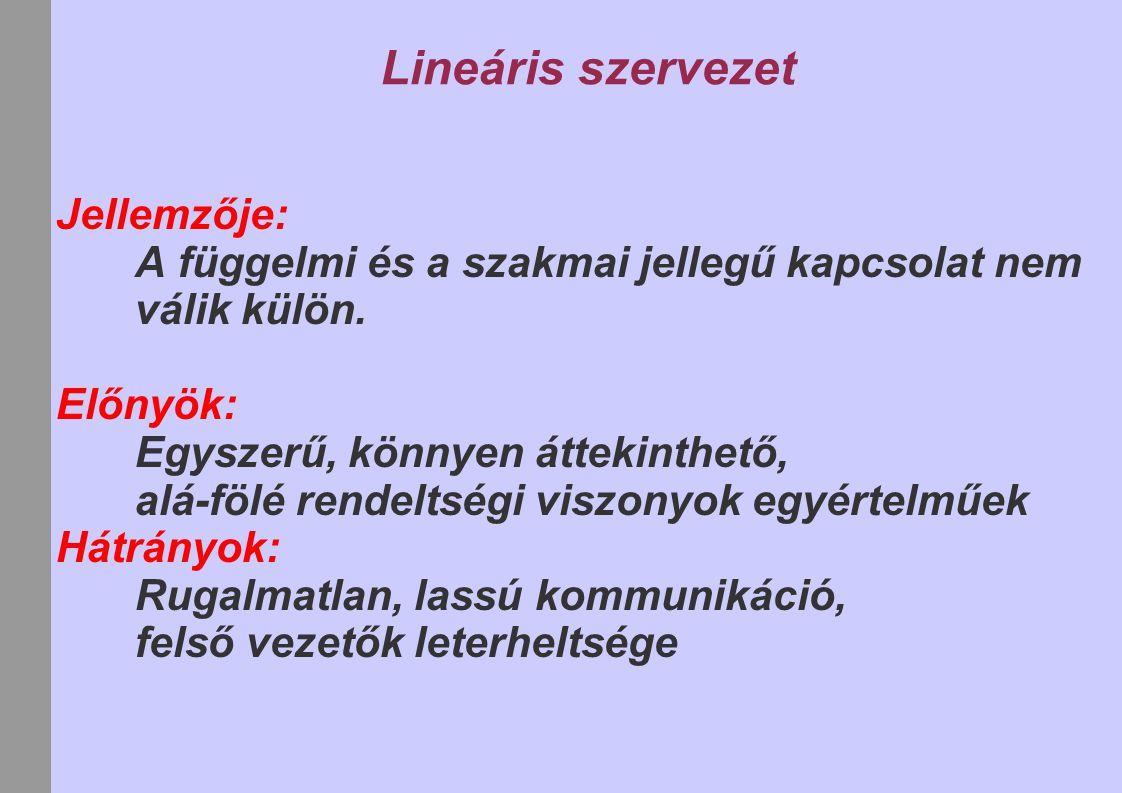 Lineáris szervezet Jellemzője: