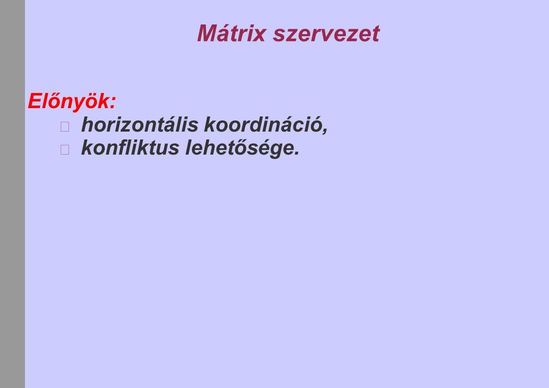 Mátrix szervezet Előnyök: horizontális koordináció,