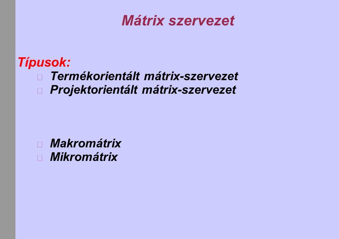 Mátrix szervezet Típusok: Termékorientált mátrix-szervezet
