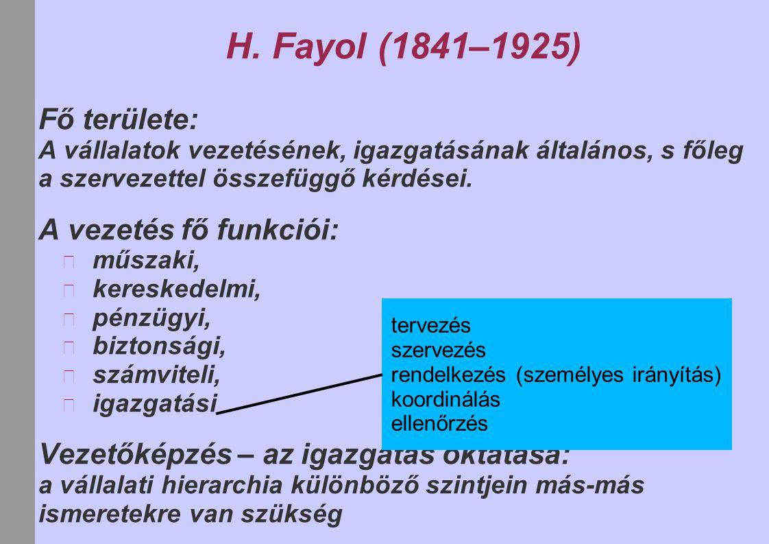 H. Fayol (1841–1925) Fő területe: A vezetés fő funkciói: