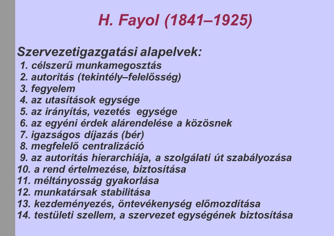 H. Fayol (1841–1925) Szervezetigazgatási alapelvek: