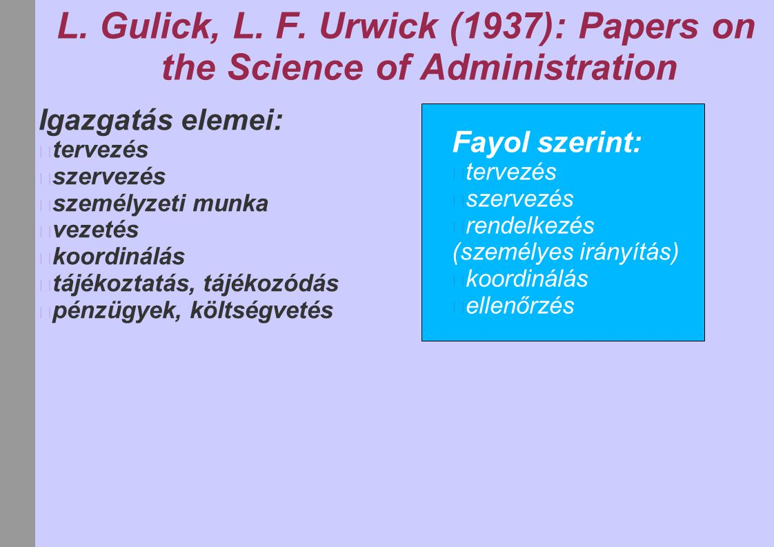 L. Gulick, L. F. Urwick (1937): Papers on the Science of Administration