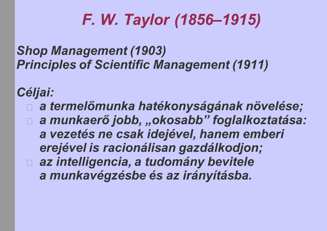 F. W. Taylor (1856–1915) Shop Management (1903)
