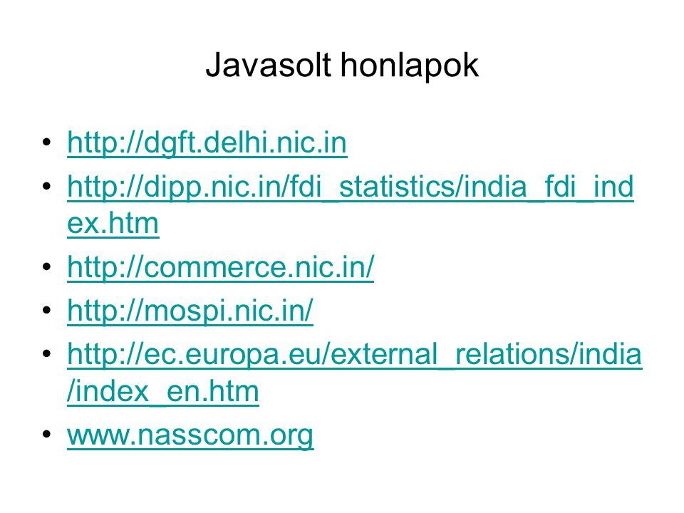 Javasolt honlapok http://dgft.delhi.nic.in