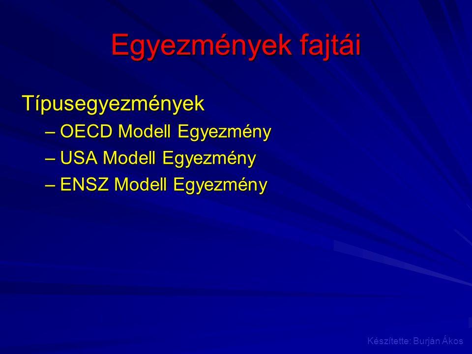 Egyezmények fajtái Típusegyezmények OECD Modell Egyezmény