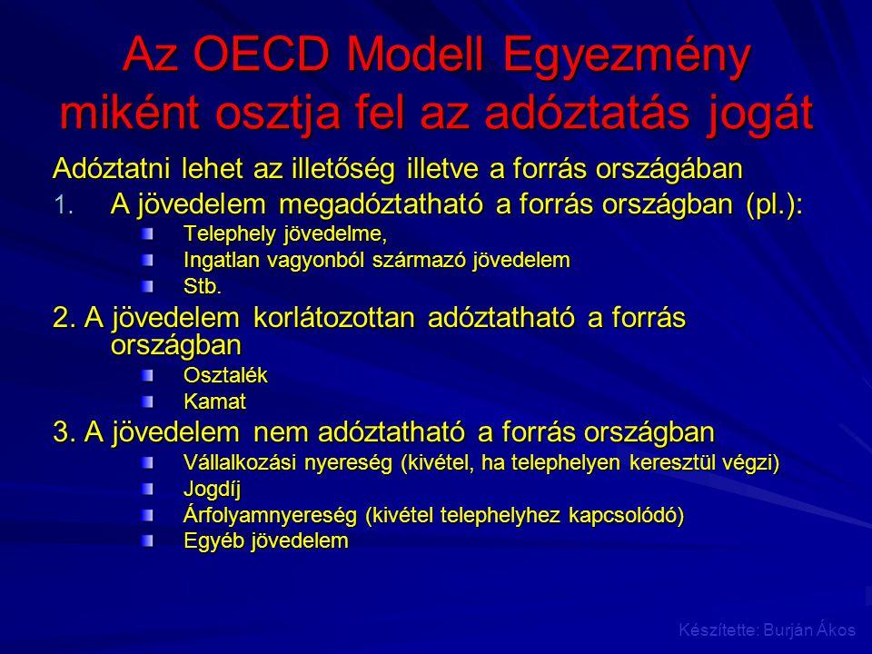 Az OECD Modell Egyezmény miként osztja fel az adóztatás jogát