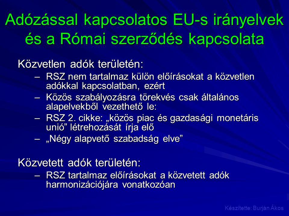 Adózással kapcsolatos EU-s irányelvek és a Római szerződés kapcsolata